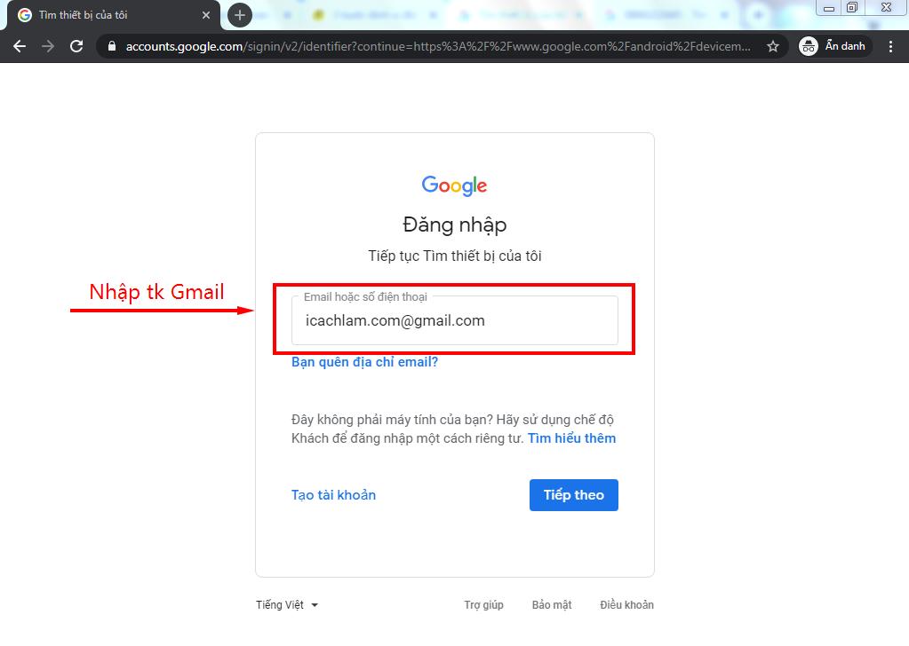 Đăng nhập tài khoản gmail dùng trên điện thoại bị mất