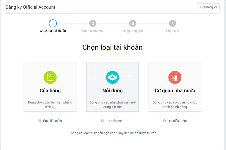 Chọn loại tài khoản đăng ký Zalo Official Account phù hợp