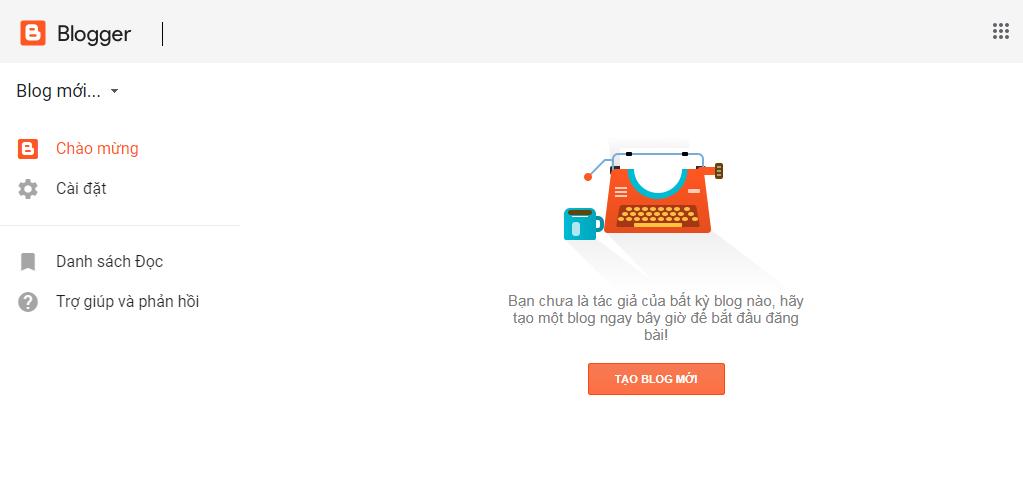 Bấm nút tạo blog mới để tạo blog miễn phí