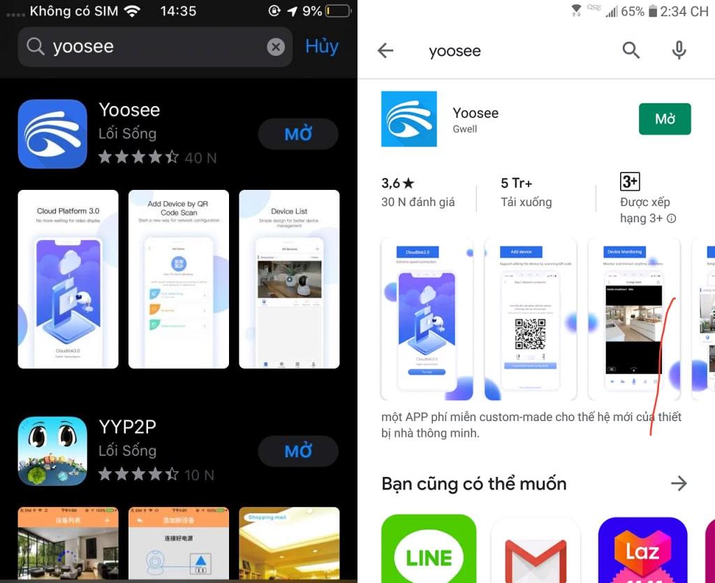 Tải phần mềm Yoosee về máy điện thoại
