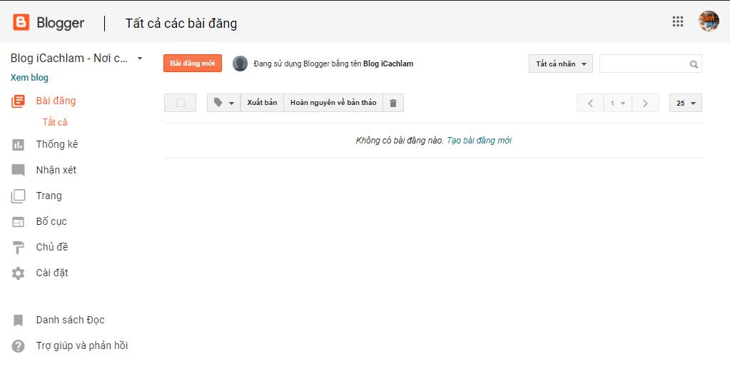 Giao diện trang blog của bạn