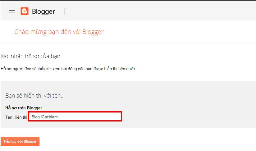 Xác nhận hồ sơ của bạn trên Blogger