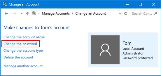 Bấm vào Change the password để xóa mật khẩu