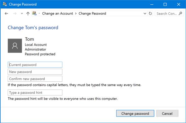 Nhập mật khẩu đang sử dụng và bấm Change password để xóa mât khẩu