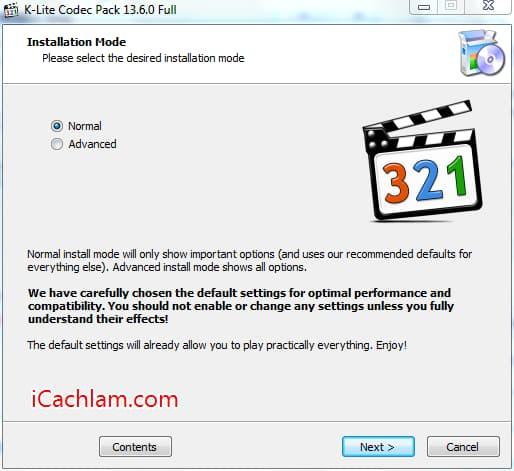 Cài phần mềm K-Lite Codec Pack hỗ trợ xem video, âm thanh