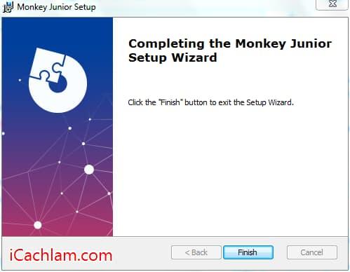 Quá trình cài đặt phần mềm tiếng anh Monkey Junior hoàn tất