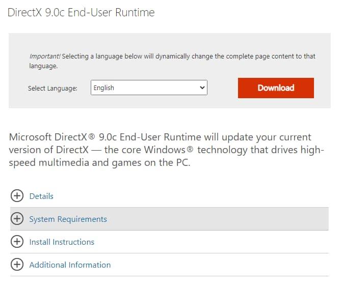 Tải và cài đặt DirectX 9.0c - Link Microsoft để fix lỗi TCP/IP