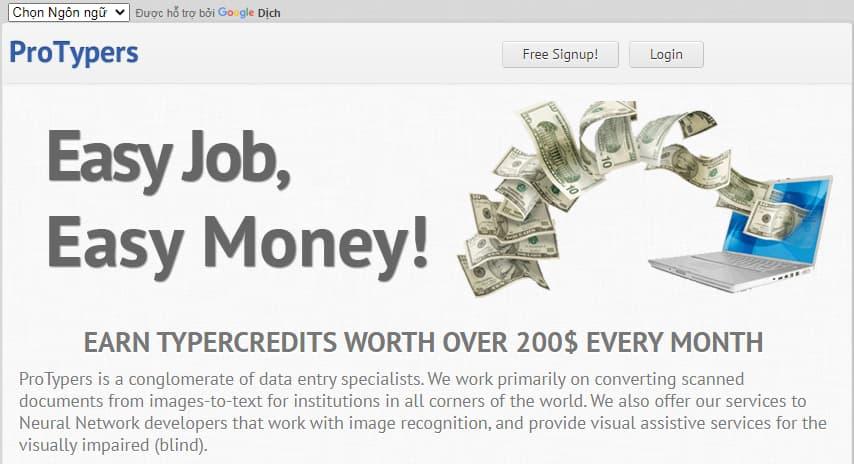 Nhập mã captcha kiếm tiền với PROTYPERS