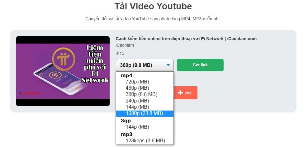 YT1s có cả định dạng MP3 khi download