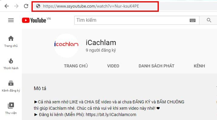Tải video bằng cách thêm ss trước youtube.com