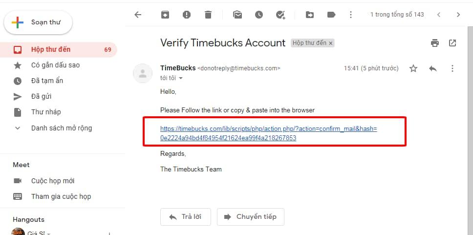 Click vào link để kích hoạt tài khoản time bucks