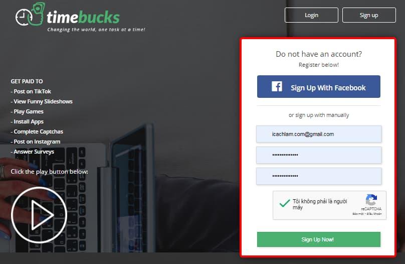Đăng ký tài khoản timebucks