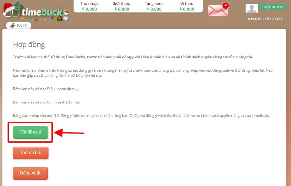 Đọc điều khoản hợp đồng timebucks và xác nhận