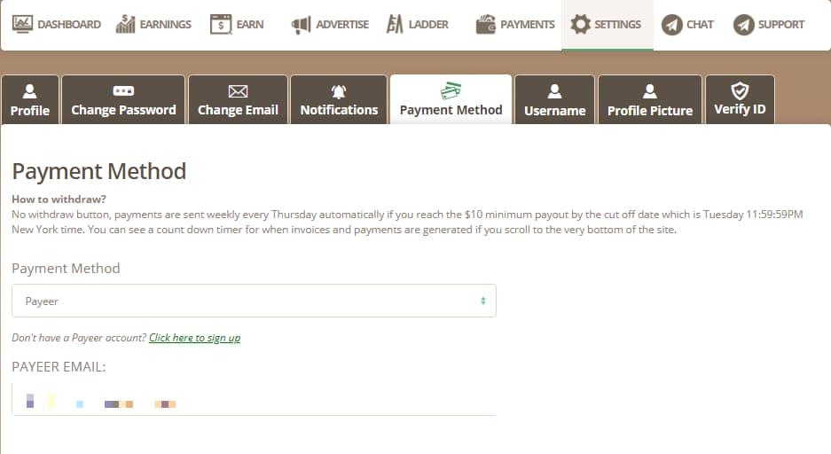 Thêm tài khoản Payeer để nhận tiền