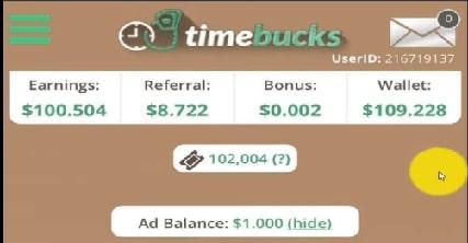 Thu nhập từ timebucks