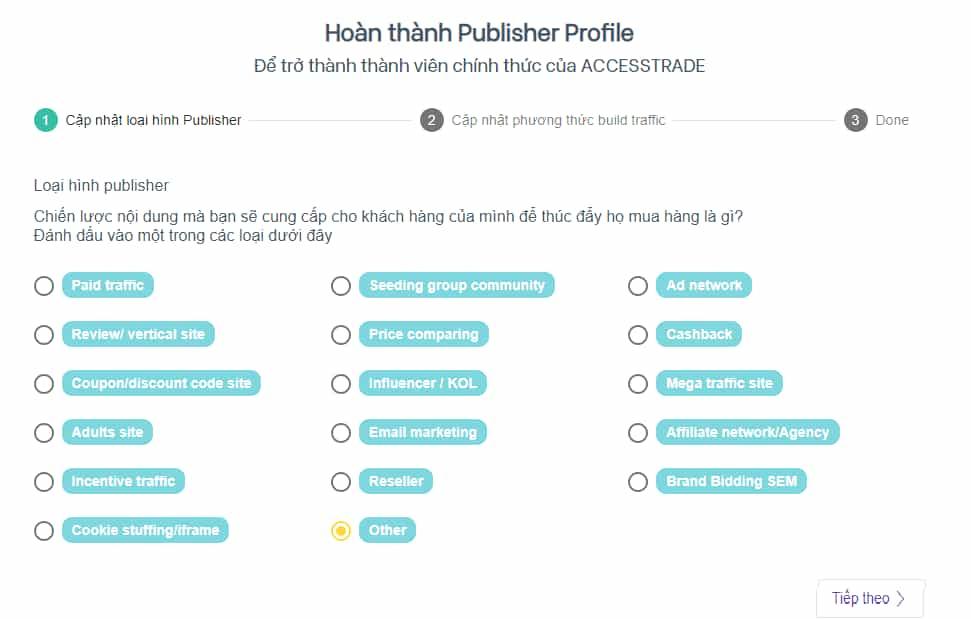 Hoàn thành publisher Accesstrade