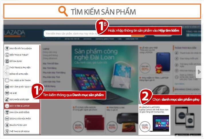 Tìm kiếm sản phẩm trên lazada.vn